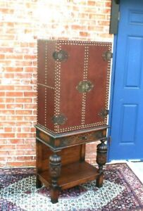 French Antique Oak Renaissance Leather Covered Small Cabinet Entry Cabinet