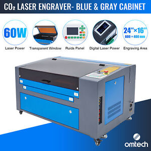 Omtech 60w 24 x16 60x40cm Bed Ruida Co2 Laser Cutter Engraver Engraving Machine