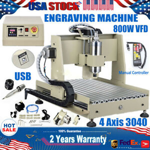 Usb 4 Axis 3040 Cnc Router Engraver 800w Vfd Wood Carving Machine Controller