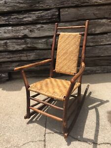 Old Hickory Chair Co Antique Rustic Armchair Rocker Over 100yr Sturdy Verified