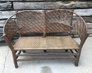 Antique Old Hickory Chair Co Martinsville Settee Bench Sturdy Verified 106