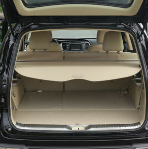 For 08 13 Toyota Highlander Cargo Cover Trunk Shade Shield Manual Liftgate Beige