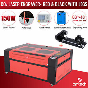 Omtech 150w 30x16 Bed Co2 Laser Engraver Cutter With Water Chiller Rotary Axis C