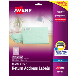 Avery r Easy Peel Return Address Labels 1 2 X 1 3 4 Matte Clear Pack Of 80