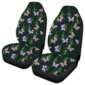2x Car Front Seat Covers Butterfly Printed Polyester Interior Protector Cushion