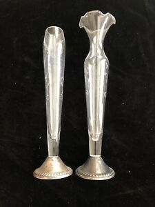 Duchin Creation Weighted 925 Sterling Silver Etched Glass Bud Vases Lot Of 2