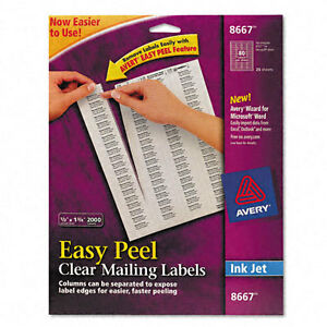 Avery Clear Easy Peel Mailing Labels Inkjet 1 2 X 1 3 4 1600 Labels Open Pack