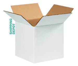 50 8x8x8 White Corrugated Boxes Shipping Packing Moving Cardboard Cartons