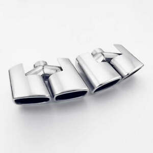 Pair Dual Square Slant Outlet Stainless Steel Exhaust Tips Dual Wall 8 Inch Long