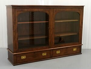 Victorian Brown Mahogany Two Doors Glazed Bookcase With Campaign Drawers