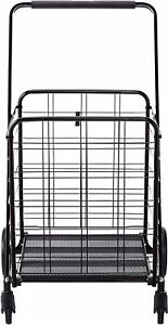 360 Shopping Cart Utility Trolley For Grocery Jumbo Size Max 150lb Black