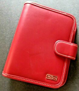 Franklin Covey Day One Binder Personal Planner Organizer 6ring Red Vegan Leather