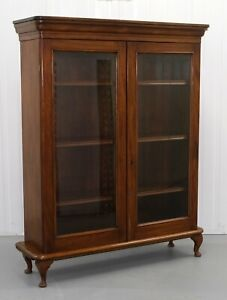 Rich Brown Mahogany Bookcase Two Doors Adjustable Shelves On Cabriole Legs