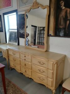 Beautiful Vintage French Provincial Dresser And Mirror