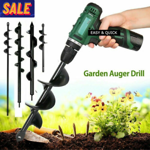 Auger Spiral Drill Bit Post Hole Digger Tool Garden Planting Earth Planter Us