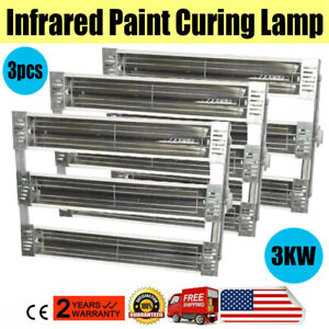 3kw 3pcs Set Spray Baking Booth Infrared Paint Curing Lamp Heating Light Heater