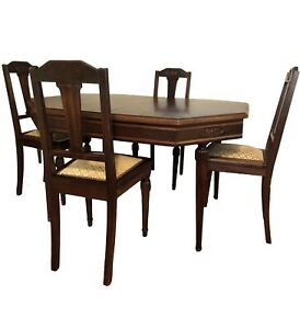 Victorian Walnut Dining Set Table 4 Chairs Removable Legs Pedestal Reduced