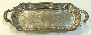 Vintage Leonard 14 Butlers Footed Silverplate Serving Tray With Handles