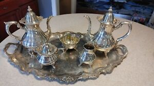 Wallace 1200 Silver Plate 6 Piece Coffee Tea Set With Tray