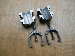 Brown Sharpe V Blocks With Clamps Matched Pair