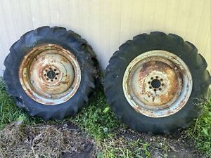 53 Ford Jubilee Naa Tractor Rear Back Wheels Rims Tires Right Left Set 12 4 28