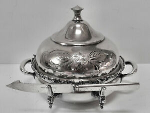 Atq Columbia Silver Co Slv Plate Lidded Cheese Butter Server Winsert Dish Knife
