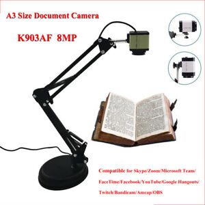 8mp Hd Document Camera Foldable A3 Size Usb Document Camera For Live Broadcast