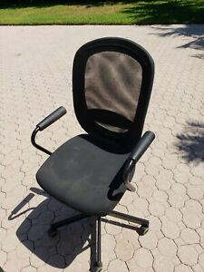 Black Rolling Computer Desk Chair Mesh Back Used Good Condition