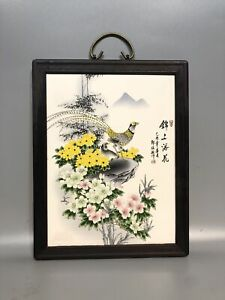 Chinese Natural Redwood Handmade Porcelain Panel Painting Screen 16755