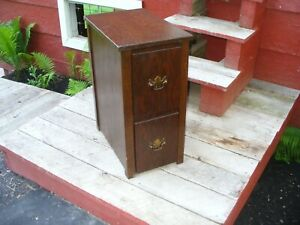 Antique Nightstand Side Table With Two Drawers Solid Wood