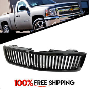 For Chevy Silverado 2007 2013 Front V Style Grille Grill Gloss Black