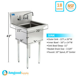 One Compartmnet Stainless Steel Sink Utility Commercial Laundry Kitchen