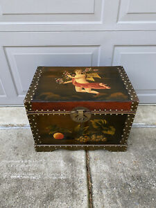 Antique Handpainted Decorative Wood Trunk Storage Cupid Still Life Painted