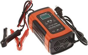 Foxsur 12v 5a Pulse Repair Charger With Lcd Display Motorcycle Car Battery Ch