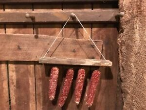 Primitive Peg Hanger Dried Corn Cobs Homestead Early Look Make Do Drying Rack
