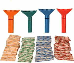 Fast Wrap Coin Counting Tubes Assorted Change Sorter 100 Assorted Coin Wrappers