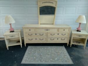 Vintage French Provincial Set Dresser With Mirror Head Board And 2 Stands