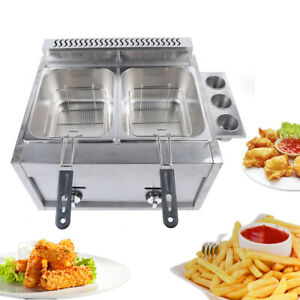 12l Double Cylinder Gas Fryer Commercial Countertop Kitchen Deep Gas Fryer