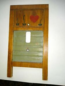 Vintage Wood Washboard Hand Painted Single Toggle Switch Plate Cover