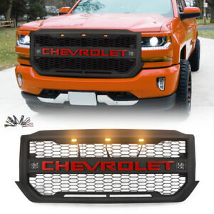 Black Grill Fit For 2016 2018 Chevrolet Silverado 1500 Grille W 3 2 Led Letters