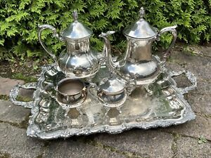 Antique Ornate Victorian Silverplate Coffee Tea Service With Tray