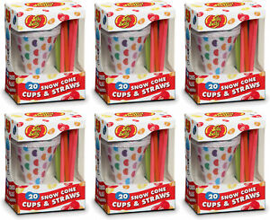 Jelly Belly Snowcone Cups Straws 20 Count 6 Pack