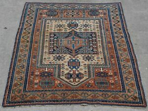 Antique Caucasian Hand Knotted Wool Veg Dyes Oriental Rug Hand Washed 3 X 5