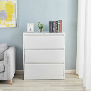 3 Drawer Lateral File Cabinet With Lock Heavy Duty Metal Filling Cabinets White