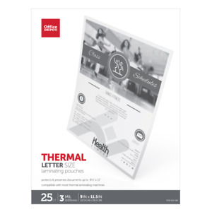 Office Depot Brand Laminating Pouches Letter Size 3 Mil 9 X 11 5 25 pk