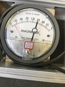 Dwyer Magnehelic A 27 2040 Pressure Gauge Inches Of Water With Tubing