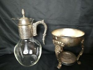 Vintage Corning Brand Silver Plate Glass Coffee Tea Carafe And Warmer Stand