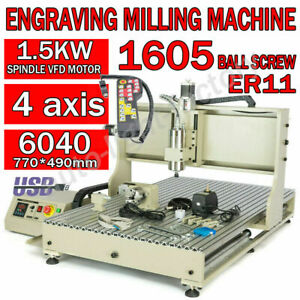 1 5kw 4axis Usb Cnc 6040 Router Engraving Wood Drill milling Machine handwheel I