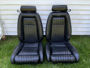 87 93 Mustang Black Leather Convertible Front Seats Vinyl Gt Lx 1987 1993 Oem 1