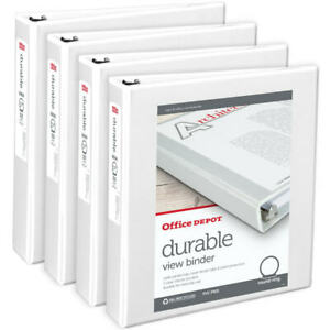 Office Depot Brand Durable Round ring View Binders 1 5 White 4 pk